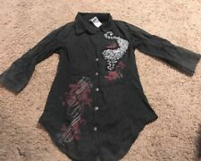 Crash & Burn Women's 3/4 Sleeve Button Down Shirt Size Medium Gray Black Heart