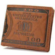 US $100 One Hundred Dollar Bill Leather Bifold Wallet Cash ID Slots Card Holder