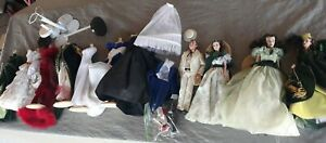 Gone With The Wind Lot Set Dolls And Dresses With Stands Franklin Mint