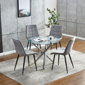 Round Glass Dining Table and 4 Grey Velvet Chairs Set for Small Space Dinette