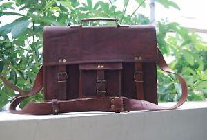 Men's Retro Rare Vintage Brown Leather Messenger Bag Shoulder Laptop Briefcase