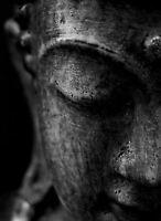 Framed Print - Stone Buddha Face Black & White (Picture Poster Buddhist Art)