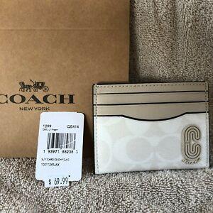 Coach Leather Card Case Wallet Signature Canvas Retro Coach Patch - #1299 -Chalk