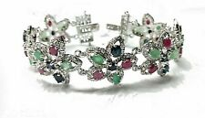 Natural Ruby Emerald Sapphire Gemstone 925 Sterling Silver Bracelet