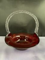 "VINTAGE RUBY SWIRL ART GLASS ROUND 5.5"" BASKET W/ CLEAR APPLIED HANDLE"