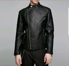 NWT Zara Men's Faux Leather Black Biker Double Zip Jacket Size S