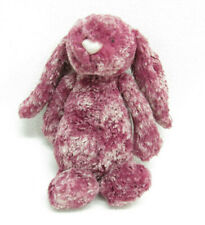 JELLYCAT BASHFUL BUNNY STUFFED PLUSH MAROON WHITE BLACKBERRY