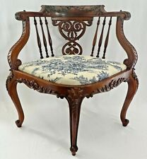 Antique Colonial Revival Hand Carved CORNER CHAIR. Refinished. Solid & Sturdy