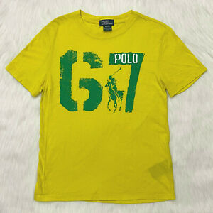 Polo Ralph Lauren Boys Size M Short Sleeve Yellow Green T Shirt POLO 67 Graphic
