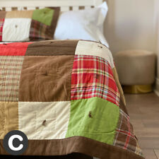 Luxury Single/Double Cotton Heavy Suede Patchwork Quilt Bedspread Set Brown Red