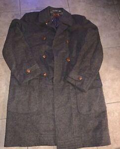 Loden Frey Wool Alpaca Blend Trench Coat Olive Green Size XL Men's Long Jacket