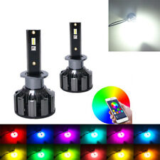 2X H1 LED RGB Headlight Kit Driving Fog Bulbs Car Lamp APP Control High Power