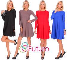 Damen Einfarbiger Kleid Langärmelig Rundhals Alltag Shift Tunika Größen Eu 36 18