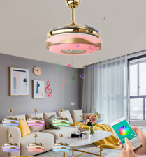 """New Listing42"""" Bluetooth Invisible Ceiling Fans Music Player Chandelier with 7-Color Light"""
