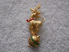 Vintage Hattie Carnegie Christmas Reindeer Deer Brooch Pin Rhinestone Gold Tone