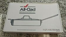 All-Clad 3Qt Saute Pan with Lid Stainless Steel Polished Finish Made in the USA