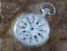 Pocket Watch 61mm Sterling Silver 925 Swiss Made Manual Wind Watch c1910 LA96