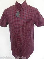 BEN SHERMAN Shirt Men's S/S Gingham Check Shirts B/D Red Sizes: XL