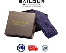 BAILOUR Tie Mens Luxury Handmade Navy Blue Formal Plain Knitted Skinny Slim