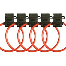 5 Pack 10 Gauge ATC In-Line Blade Fuse Holder 100% OFC Copper Wire with cover