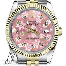 Rolex 36mm Datejust Peach Flower Diamond Accent Dial SS & 18k Fluted Bezel Watch