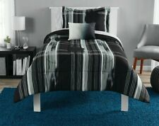Mainstays Modern Plaid Black Bed in a Bag Bedding Set, Queen