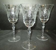 """Stunning Cut Crystal 3 Water Goblets Floral Design 8 1/4"""" Tall"""