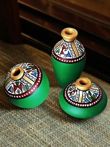 Exclusive Set of 3 Green Warli Hand-Painted Earthen Showpieces DIWALI DECOR GIFT