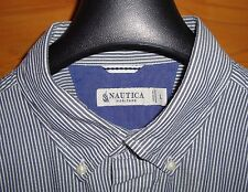 NAUTICA Heritage Blue White Stripe Button Front Long Sleeve Mens Shirt  Size Lg
