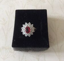 Ruby and Clear Crystal Cluster Ring Size N