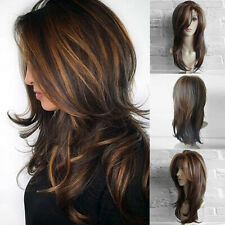 Women Stylish Long Straight Wavy Wigs Gold Brown Mix Party Wig Heat Resistant