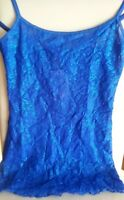 HANKY PANKY FLORAL LACE CAMISOLE UNLINED XS BLUE SAPPHIRE SHIMMER NWT