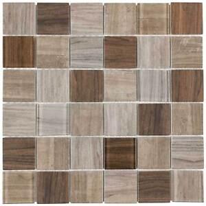 Modern Uniform Squares Brown Glass Mosaic Tile Backsplash Kitchen Wall MTO0333
