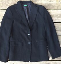 United Colors of Benetton Women 10 Blazer Jacket 42 Fitted Black Solid Button K2