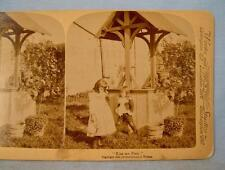 Stereoview Underwood Kiss Me First Copyright 1894 2 Girls Standing By A Well (O)