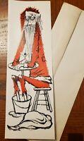 Vtg 1960s MCM Tall Christmas Greeting Card Tired Martini Santa Lowell Herrero