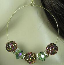 Basketball Wives Earrings Rhinestone Hoops Women Jewelry Gift Pink Beaded Hoops
