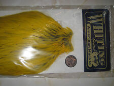 Whiting Genetic Full Bronze Cock Neck Cape Black Laced White Dyed Yellow