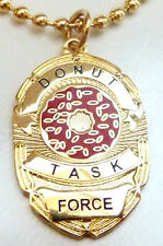Police Badge DONUT TASK FORCE FBI ICE SHERIFF PENDANT CHARM NECKLACE W/ CHAIN