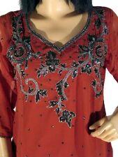 Beautiful Russet Trendy Designer Sequin Embroidered Ladies Tunic Kurti Top M