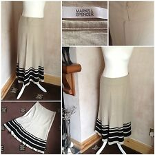 ladies marks and spencer skirt size 12 flax linen vicose calf length
