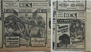 2 1958  newspaper ads for movies The Monster That Challenged The World, Vampire