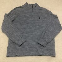 US Polo Assn. Mens Sweatshirt Blue 1/4 Zip Mock Neck Long Sleeve Size Large L