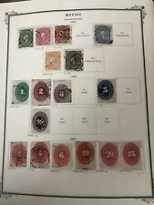 Mexico Antique Stamps 1880's unwatermarked on album page . RARE VALUES . Hidalgo