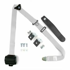 3pt White Retractable Seat Belt With Mounting Brackets - Standard Buckle