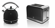 NEW Swan Kitchen Appliance Retro 1.7L BLACK Dome Kettle & 2 Slice Toaster Set
