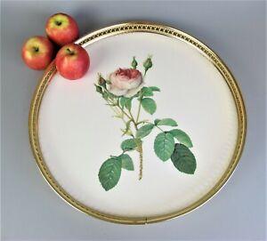 "Round 60's vintage Woodmet Rose Drinks Serving Tray. Gold gallery & melamine 15"""