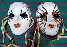 MARDI GRAS LOT OF 2  NEW ORLEANS CERAMIC FACES **HAND PAINTED**