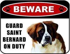 Beware Guard Saint Bernard (v1) on Duty 11.5 inch x 9 inch Laminated Dog Sign