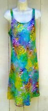 Batik Bali tank top sun dress rainbow aqua green floral slip on flare skirt XXL